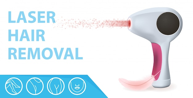 Modern laser epilator with ray, feather and icons
