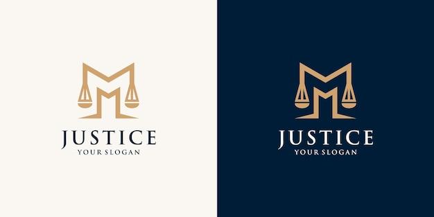 現代の法律事務所の頭文字mのロゴデザイン