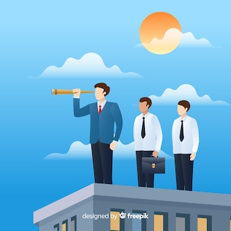Modern leadership composition with flat design