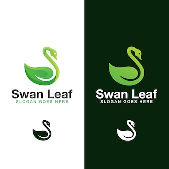 Modern leaf swan natural logo. beauty swan leaves logo  template