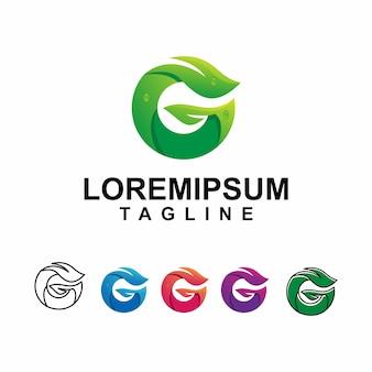 Modern leaf with letter g logo design