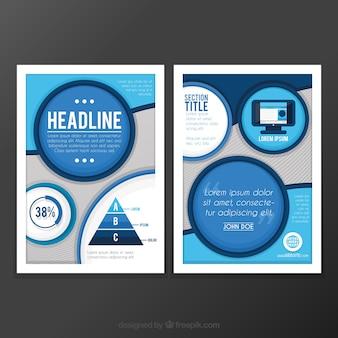 Современный шаблон листовки с синими кругами
