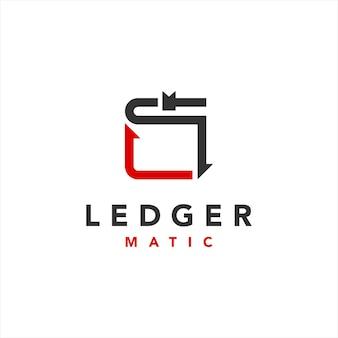 Modern ledger software technology logo design template