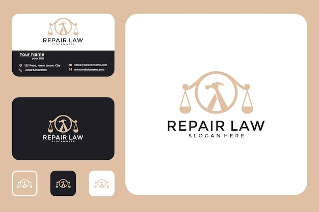 現代の法的な修理のロゴデザインと名刺