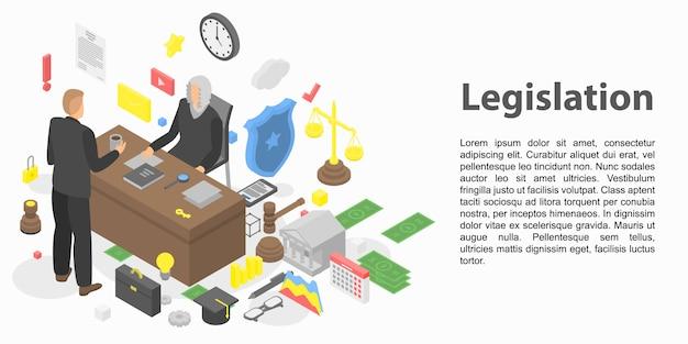 Modern legislation concept banner, isometric style