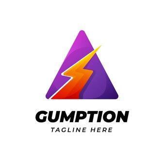 Современный дизайн логотипа буквы a и треугольника с формой энергии молнии