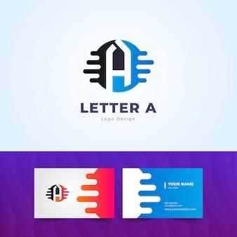 현대 편지 a 로고와 간단한 명함
