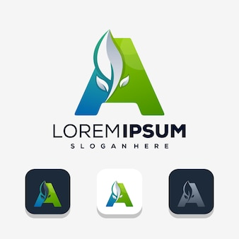 Современная буква а с дизайном логотипа leaf