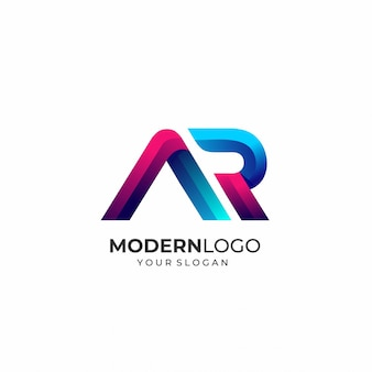 Modern letter ar logo template