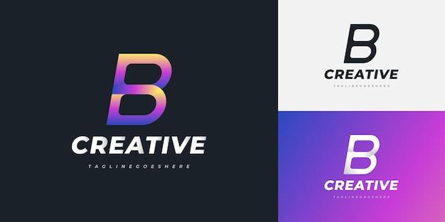 다채로운 그라디언트 스타일의 현대 문자 b 로고 디자인. 기업 비즈니스 아이덴티티에 대한 그래픽 알파벳 기호