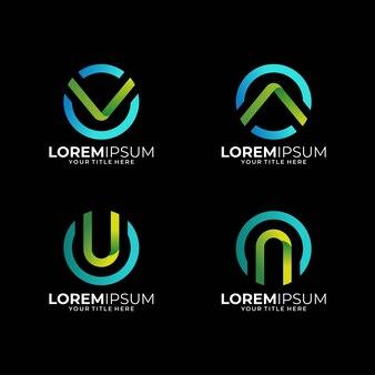 現代文字サークルロゴデザインセット