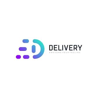 Modern letter d logo delivery gradient logo template