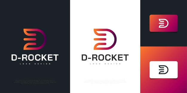 Modern letter d logo design with rocket concept in colorful style. d symbol for your business company and corporate identity