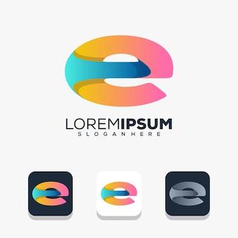 Modern letter e logo design