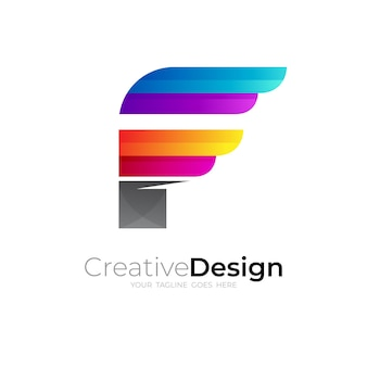 モダンな文字fロゴとカラフルなアイコンテンプレート
