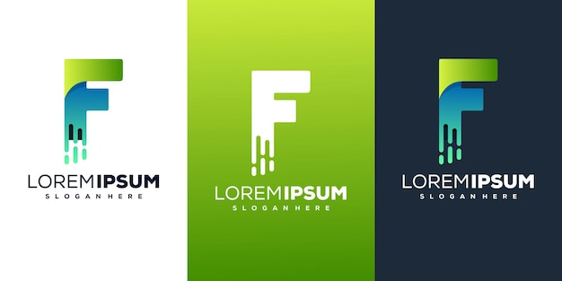 Современный дизайн логотипа буква f