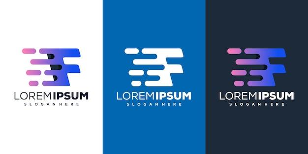 Modern letter f tech logo template