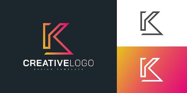 선 스타일이 있는 오렌지 그라디언트의 현대 편지 k 로고 디자인 템플릿입니다. 이니셜 k 로고. 기업 비즈니스 아이덴티티에 대한 그래픽 알파벳 기호
