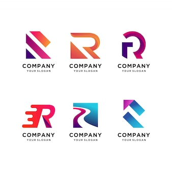 Modern letter logo design collection with initial r, modern, gradient, abstract, letter