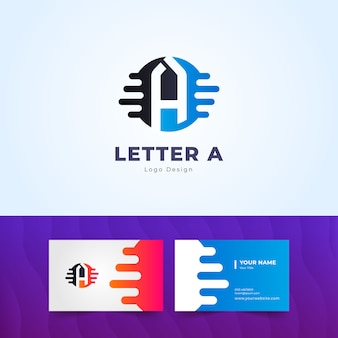 Modern letter a logo and simple business card