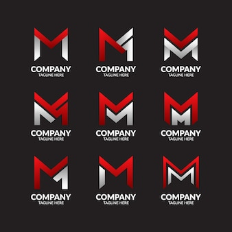 Modern letter m logo collection