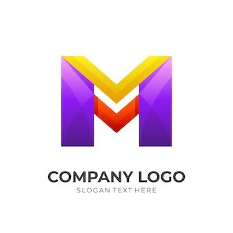 Современный дизайн логотипа буква m с 3d красочным стилем