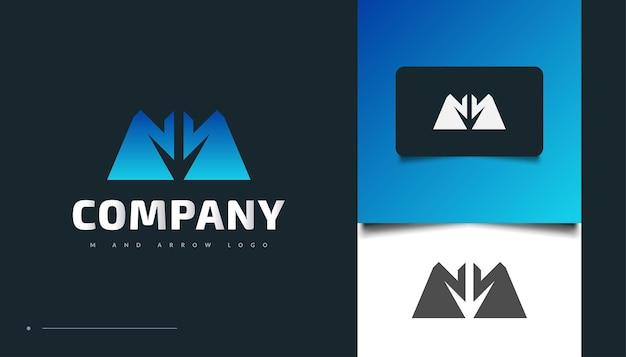 파란색 그라디언트의 아래쪽 화살표 개념이 있는 현대적인 문자 m 로고 디자인. m 로고 디자인 템플릿