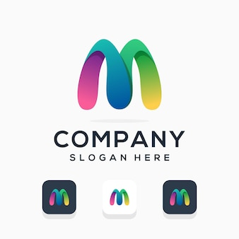 Современный дизайн логотипа буква м