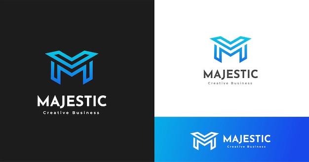 현대 편지 m 모노그램 스타일 로고 디자인 서식 파일