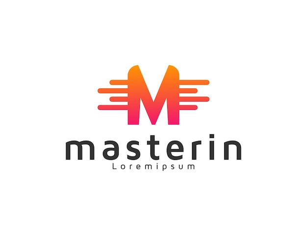 Modern letter m technology logo design template