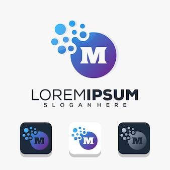 Modern letter m with dot logo design