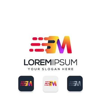 Modern letter m witht tech logo design