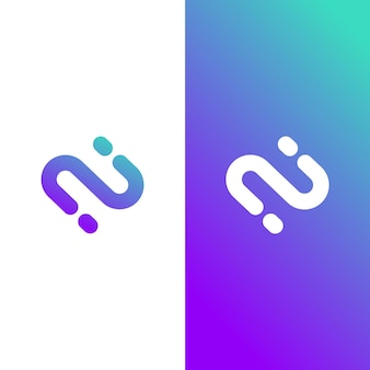 Modern letter n gradient colorful logo template