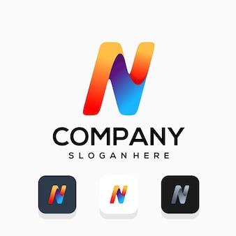 Modern letter n logo design