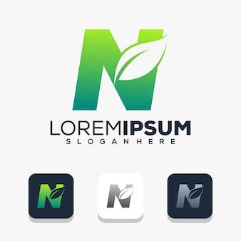 Modern letter n with leaf logo design