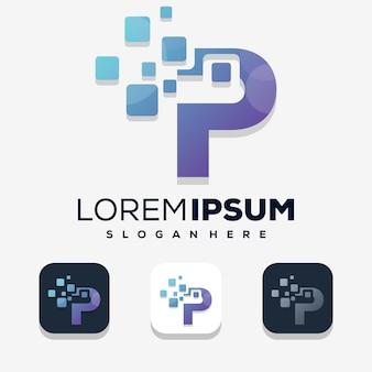 Modern letter p with digital logo design