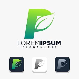 Modern letter p with leaf logo design