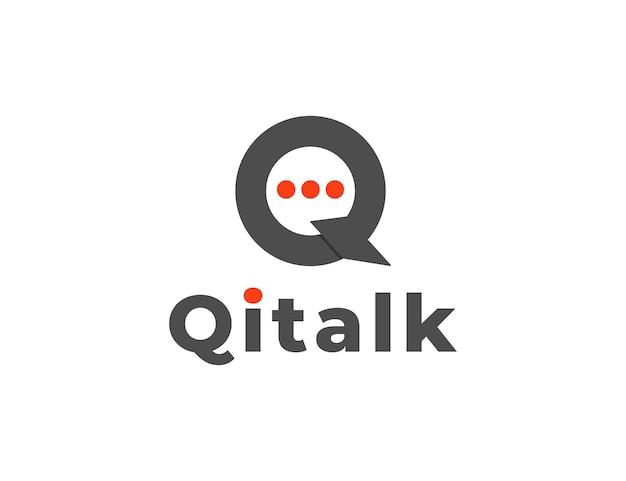 モダンな文字qトークまたはチャットのロゴデザイン