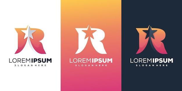 Современная буква r со звездным логотипом