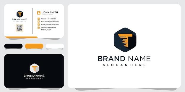 名刺を使用したモダンレターtの高速ロゴデザインのインスピレーション。 tロゴデザイン