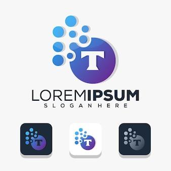 Modern letter t with dot logo design