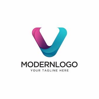 현대 편지 v 로고