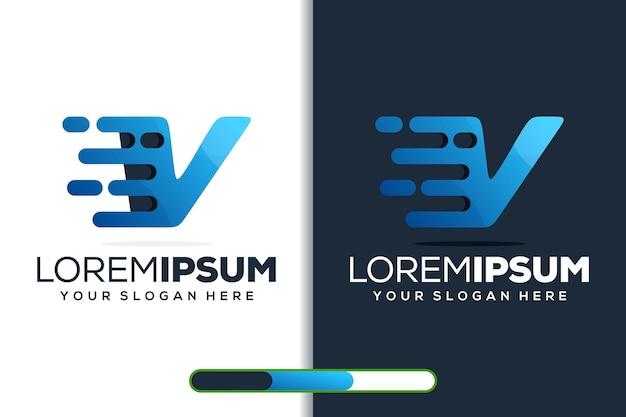 Modern letter v tech logo template
