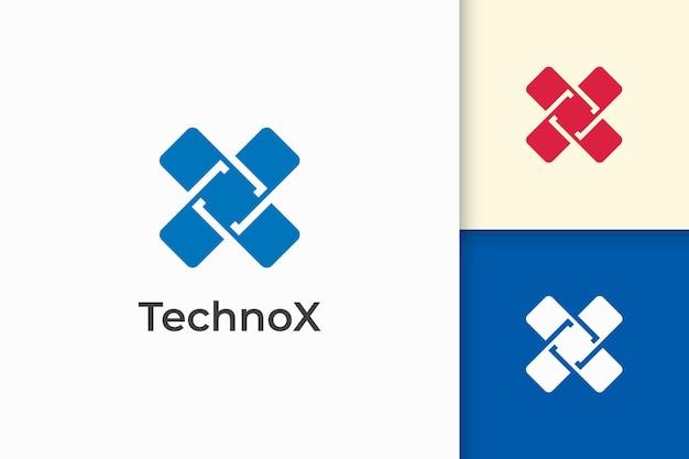 Современная буква x логотип для технологической компании