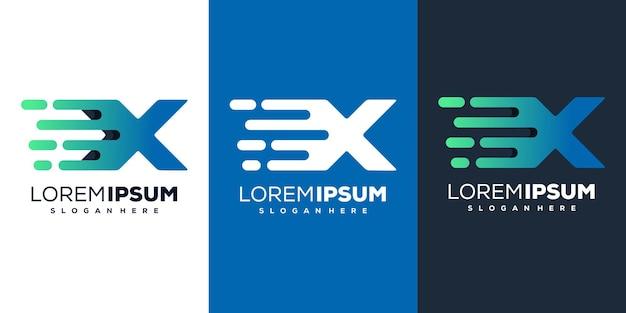 현대 편지 x 기술 로고 템플릿