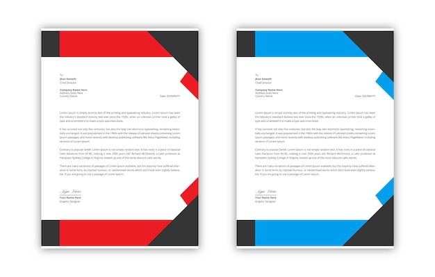 Современный фирменный бланк черно-красный элегантный профессиональный premium векторы