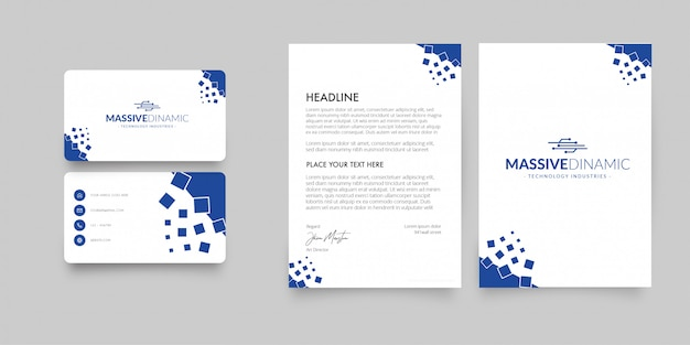 Modern letterhead and business card with abstract shapes