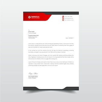 Modern letterhead red and black elements professional business letterhead template