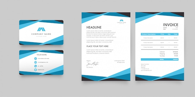 Modern letterhead stationery pack with blue shapes