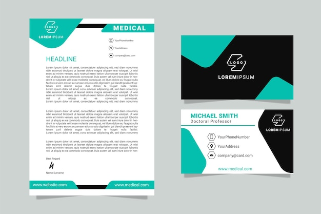 Modern letterhead template design for business with business card